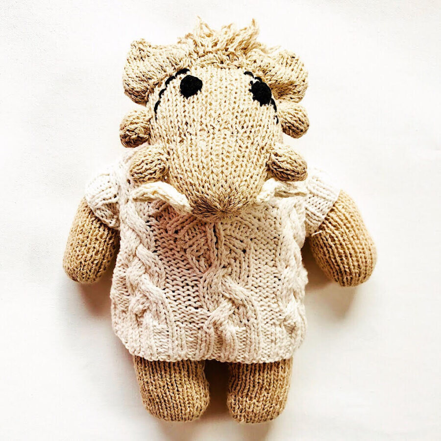 Knit for Life ethical and sustainable toy warthog. Knit for Life is a registered charity. Designed in Australia. Handmade in Zimbabwe.