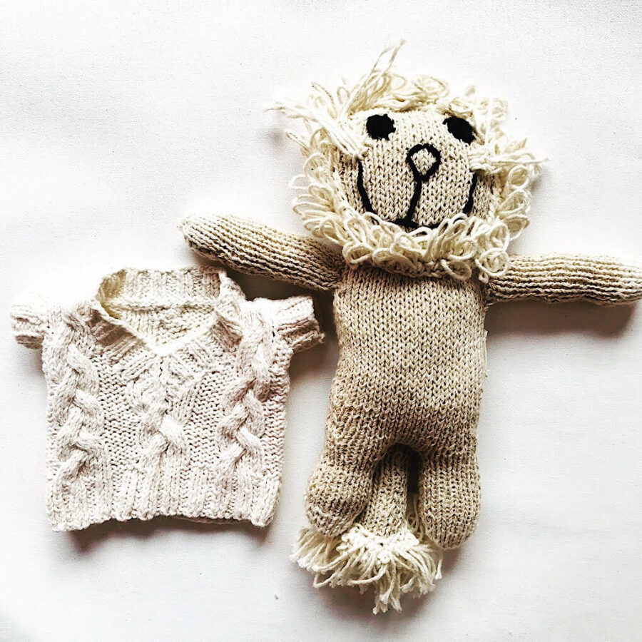 Knit for Life soft toy large lion with a removable jumper. Knit for Life is a registered charity. Designed in Australia. Handmade in Zimbabwe. Ethical kids toys and fashion.